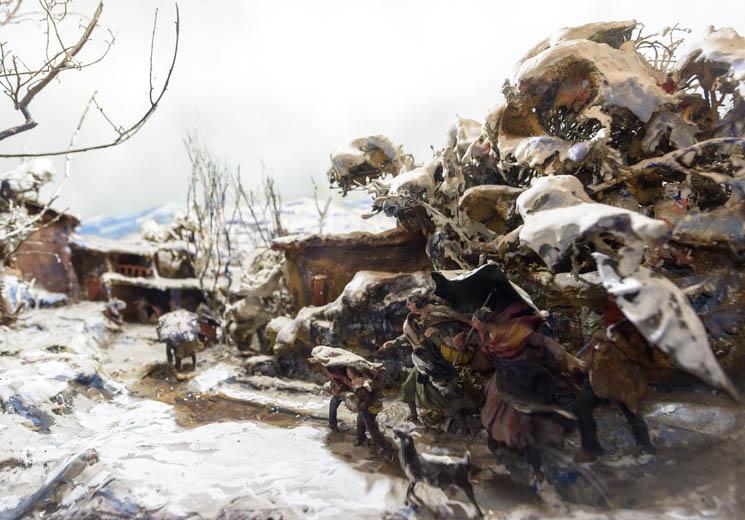 Familia en paisaje nevado